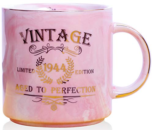 1944 75th Birthday Gifts for Women and Men Ceramic Mug - Funny Vintage 1944 Aged To Perfection - Anniversary Gift Idea for Him, Her, Mom, Dad Husband or Wife - Ceramic Marble Cups 13 oz (Pink)