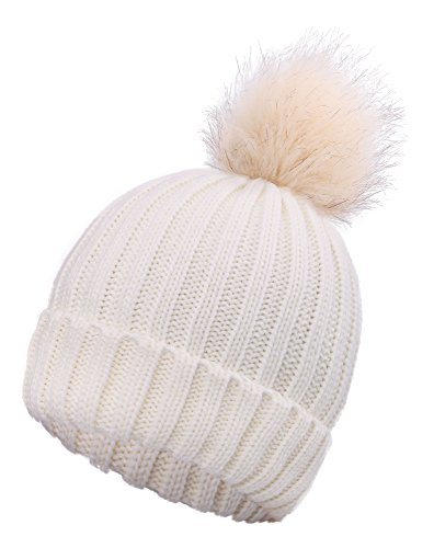 ble Knit Beanie Hat with Faux Fur Pom Pom Adult (Arctic Beanie)