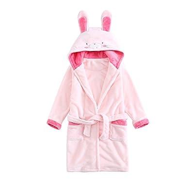 Girls Boys Fleece Hooded Bathrobe Kids Animal Robe Pajamas Sleepwear Toddler Plush Kimono