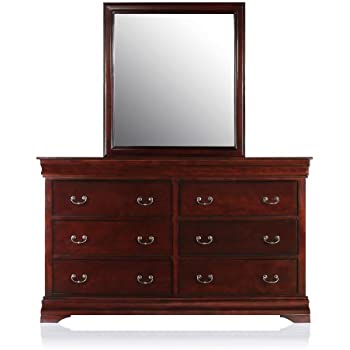 furniture of america balen classic 2 piece dresser and mirror set cherry finish. Black Bedroom Furniture Sets. Home Design Ideas
