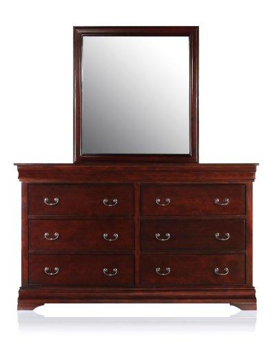 Furniture of America Balen Classic 2-Piece Dresser and Mirror Set, Cherry Finish