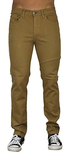 (Blu Mens Slim Fit Jeans 20 Colors Soft Stretch Skinny Camel 38W x 32L)