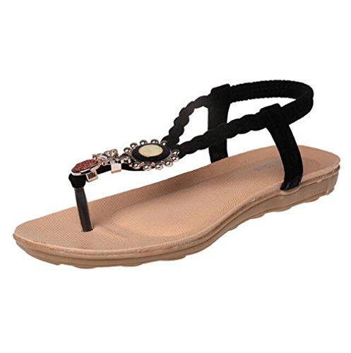 Bohemia Verano Libre Mujeres Black Calzado Chanclas Playa TWGDH Sandalias Planas Zapatos Aire Casual Al tF70qw