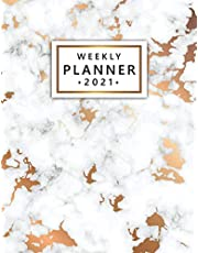 Weekly Planner 2021: Pretty One Year Weekly Daily Organizer & Schedule Agenda - 2021 Business Calendar with Inspirational Quotes, To-Do's, Vision Boards & More - Gray & Gold Marble Print