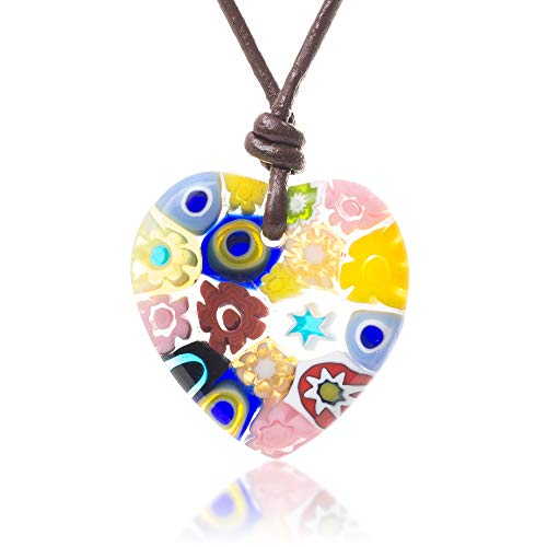 (Chuvora Millefiori Murano Glass Multi-Colored Heart Shaped Pendant 25 mm Adjustable Necklace 15