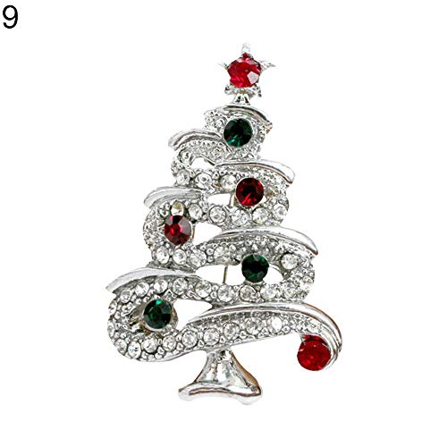 Dds5391 Novelty Bright Color Christmas Tree Brooch Pin Rhinestone Inlaid Jacket Handbag Decor - -
