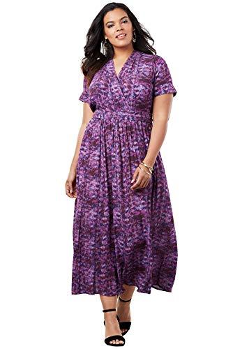 Roamans Women's Plus Size Wrap Maxi Dress in Crinkle - Purple Painted Animal, 12