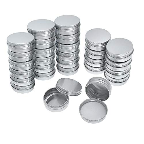 - Yarachel Pack of 40 Screw Top Round Aluminum Tins Cans - Aluminum Screw Lid Round Tin Container Bottle