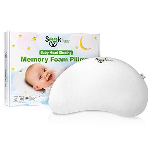 Baby Flat Head Prevention Support Pillow by SeekZiggy - Antiflat Sleep Shaper Memory Foam for Newborn & Infant Babies - Breastfeeding Nursing Positioning Travel Pillows - Protection Flat Head Shaping