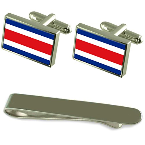 Costa Rica Flag Silver Cufflinks Tie Clip Engraved Gift Set by Select Gifts
