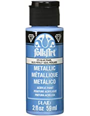 FolkArt Metallic Acrylic Paint in Assorted Colors (2 oz), 670, Blue Pearl
