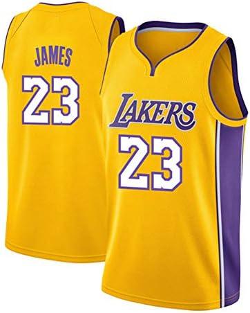 23#レイカーズジェームスジャージ、男子ファンバスケットボールノースリーブTシャツ、優れた汗吸収-yellow-2-M