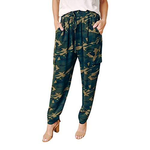 (JOFOW Harem Pants for Women Camo Print Side Pockets Loose Swing Long Crop Trousers High Waist Drawstring Tie Elegant Pajamas)