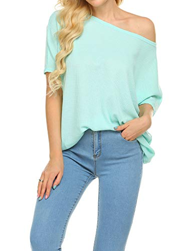 Newchoice Womens Off The Shoulder Tunic Tops Short Sleeve Summer Shirts Loose Solid Casual Tops Blouses (Mint Green, - Mint Blouse