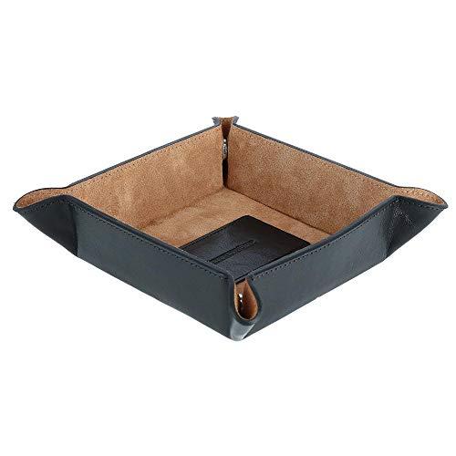 (CrookhornDavis Men's Italian Vachetta Calfskin Leather Valet Tray, Black )