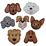 Pack of Novelty Dress it up Buttons, Fuzzy Faces, Dog, for Sewing, Scrapbooking, Embelishments, Crafts, Knitting,