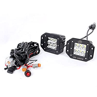 HT 2X 30W 2600lm CREE Flush Mount LED Driving Light kit Spot / Diffused Flood beam LED work Light Fog Light for Pick Up Jeep Trucks Off road Racing Power Sports Tractors 4WD Vehicle Lights-2years Warranty
