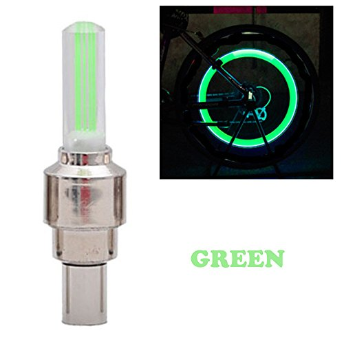 - South Weekend 2018 New Ultra Bright 2PCS Bike Car Motorcycle Wheel Tyre Valve Cap Flash LED Light Lamp Accessories (Green)