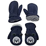 N'Ice Caps Little Kids and Baby Easy-On Sherpa Lined Fleece Mittens – 2 Pair Pack (Navy Bear/Navy Solid, 4-6 Years) Review