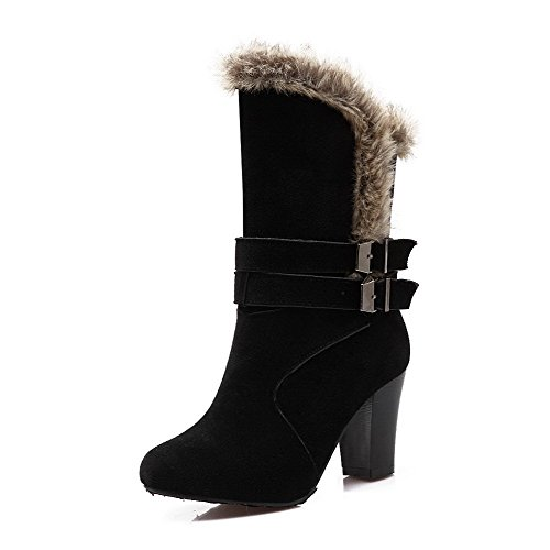 Round Closed Velvet Boots Women's AmoonyFashion Frosted Solid Mid top Toe Shi Black Xi qBHZEFwn