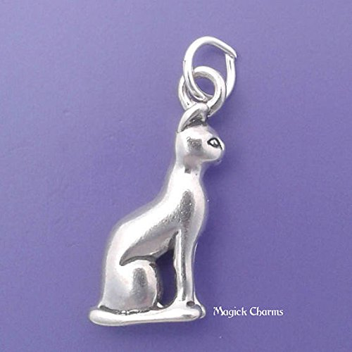925 Sterling Silver 3-D Siamese Cat Charm Sphynx Egyptian Bast Jewelry Making Supply, Pendant, Charms, Bracelet, DIY Crafting by Wholesale Charms -