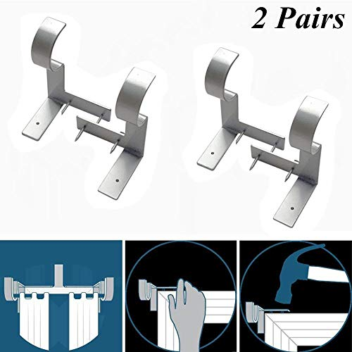 ACGN Curtain Rod Brackets, Adjustable Curtain Rod Wall Bracket Hang Curtain Rod Holders Tap Right Into Window Frame Curtain Rod Bracket (2 Silver 2 Pairs)