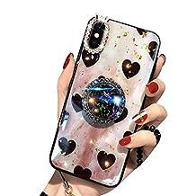 Aulzaju - Carcasa para iPhone con soporte para anillo, vidrio de TPU supersuave, brillante, a prueba de golpes, diseño de corazón
