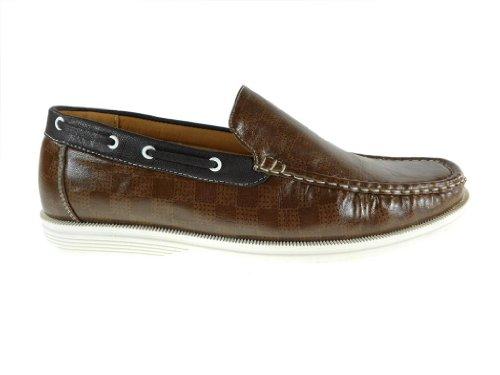 Zapatillas De Mocasín Mocasín Diseño Informal A Cuadros Para Hombre 3012 Marrón Oscuro