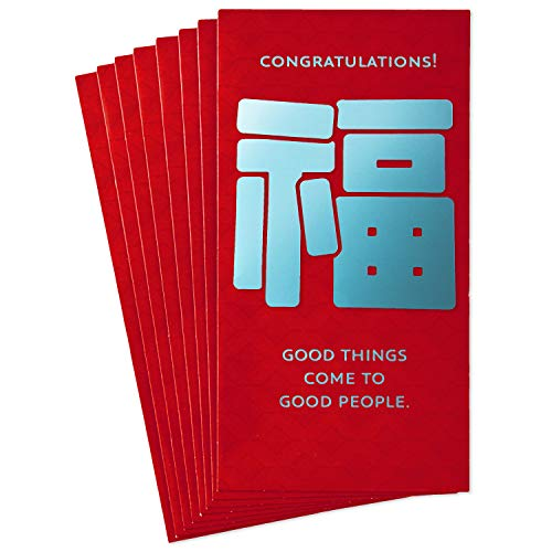 Hallmark Eight Bamboo Lai See Money or Gift Card Holders, Congratulations (8 Red Envelopes)