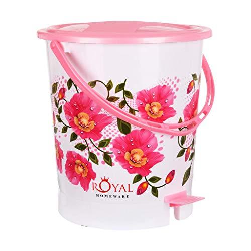 Fuscia Flora Plastic Dustbin for Home 12L (Pink) Price & Reviews