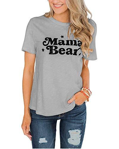 3ae0c744 EIGIAGWNG Womens Mama Bear Tee Shirts Short Sleeve Funny Cute Graphic Tee  Mother's Day Tunic Tops