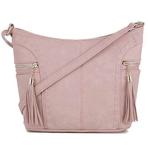 DELUXITY | Crossbody Hobo Slouch Bucket Purse Bag | Side Pockets with Tassel | Adjustable Strap | Mauve