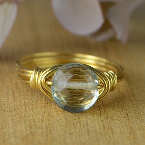 Blue Quartz Ring- Sterling Silver, Yellow or Rose Gold Filled Wire Wrapped Ring with Clear Faceted Gemstone- Made to size 4-14