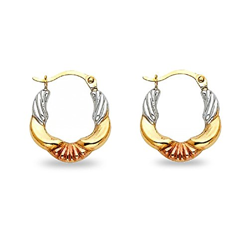 Small Hoop Earrings Solid 14k Yellow White Rose Gold Fancy French Lock Polished Tri Color 13 x 13 mm (X Gold Design Yellow 14k)