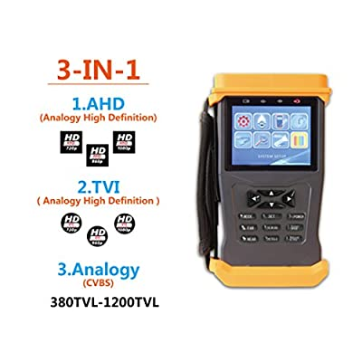 GXA K735S 3 in 1 CCTV Tester for AHD/TVI/CVBS Cameras,1080P,1A 12V DC Power Out, PTZ Test,Cable Test,Audio&Video Test Rechargeable Battery,CCTV Security Camera Monitor. from GXA