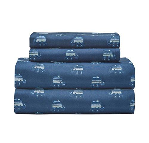 N-A 4 Piece Girls Elephant Indigo Blue Sheet King Set, Dark Blue Color Animal Print Boho Printed Kids Bedding Teen Bedroom, Whimsical Design Contemporary Zoo Jungle Safari, Polyester by N-A