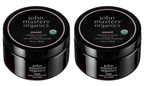 John Masters Organics Sweet Raspberry and Orange Body Scrub (Pack of 2) With Sunflower Seed Oil, Coconut Sugar, Shea Butter, Raspberry Seed Extract, Citrus and Geranium Oil, 4.8 oz. Each