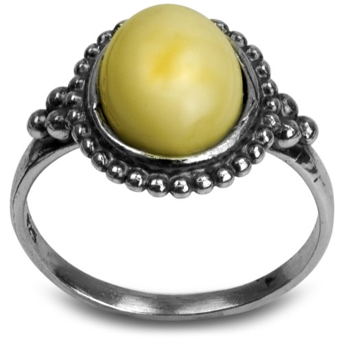 Sterling Silver Butterscotch Amber Oval Stone Victorian Look Ring - Oval Amber Stone