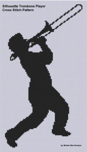 Silhouette Trombone Player Cross Stitch Pattern