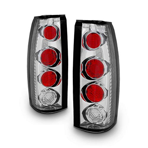 For Chevy C/K C10 Tahoe GMC Jimmy Sierra Suburban Yukon Pickup Truck Chrome Clear Tail Lights Brake Lamps ()