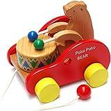 FlyCreat 木のおもちゃ 赤ちゃん 引っ張る おもちゃ プルトイ 引き車 ポコポコくまさん あかちゃん 木製玩具 木の玩具 ベビーおもちゃ 好奇心をくすぐるおもちゃ 1歳 誕生日プレゼント 可愛い車 動きを楽しむ 知育玩具 太鼓をたたく熊さんと行進 Wooden toys 保育園 託児室 キッズルーム 男の子 女の子 子供 プレゼント 出産祝い・誕生日祝い オモチャ