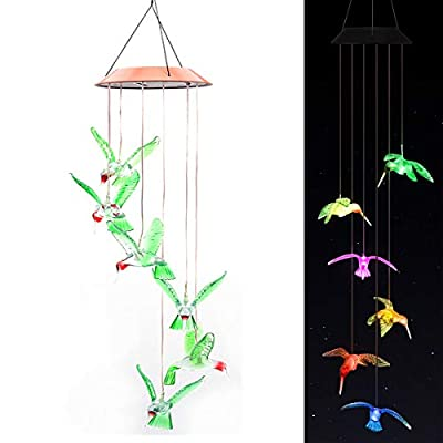 OurLeeme Hummingbird Wind Chimes, Led Color Changing Solar Wind Chime Light Wind Chimes Outdoor Solar Light Solar Mobile Wind Chime for Home Party Yard Garden Night Decoration