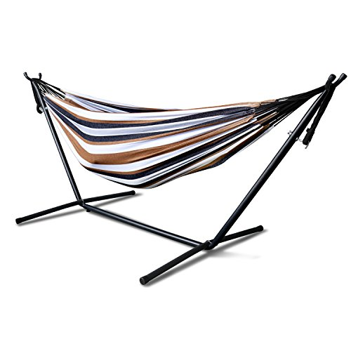 Sinma Double Canvas Travel Hammocks Ultralight Camping Hammock Portable Beach Swing Bed with Space Saving Steel Stand Includes Portable Carrying Case (Desert Moon)
