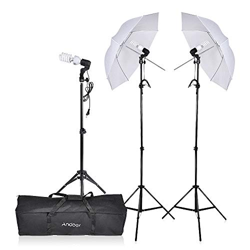 (Andoer Photography Umbrella Lighting Kit, 5500K Video Portrait Bulbs with E27 Swivel Socket Three Stand Two Umbrellas and Carrying Case)
