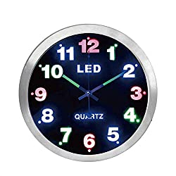 Justup LED Wall Clock, 12-inch Metal Round Silent Wall Clock Battery Operated with Luminous Hands Non-Ticking Quartz HD Glass for Kitchen Bedroom Indoor (Silver)