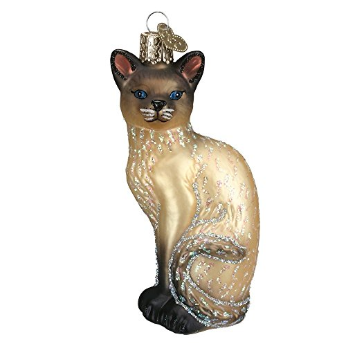 (Old World Christmas Glass Blown Siamese Cat Tan Ornament)