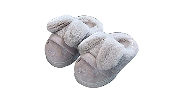 Brown Gentle Meow Autumn and Winter Home Childrens Anti-Slip Fluffy Slippers