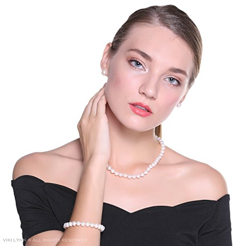 Freshwater Pearls. Freshwater Cultured Pearl Necklace Set Includes Stunning Bracelet and Stud Earrings Jewelry for Women. #freshwaterpearls