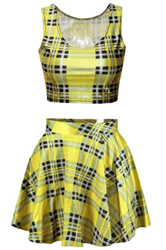 Women Yellow Block Plaid Print Short Sleeveless Tank Tops Pleated Rave Skirts Set]()