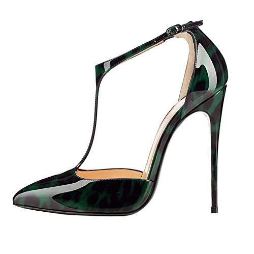 Sammitop Women's Pointy Toe Cut Out T-Strap High Heel Dress Pumps Leopard Green US5 ()